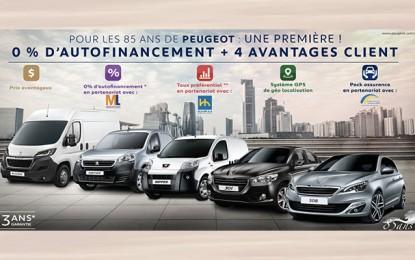 85 ans de Peugeot : 0% d'autofinancement + 4 avantages client