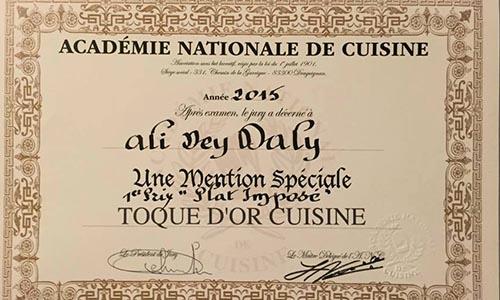 Toque d or un tunisien gagne le prix du plat impos for Academie nationale de cuisine