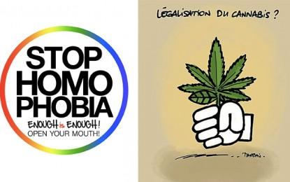 Contre l'homophobie et pour la dépénalisation du cannabis