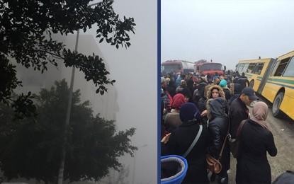 Tunis: Un bus renversé à cause du brouillard