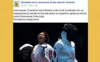 Escrime: Sarra Besbes félicitée pour une médaille imaginaire