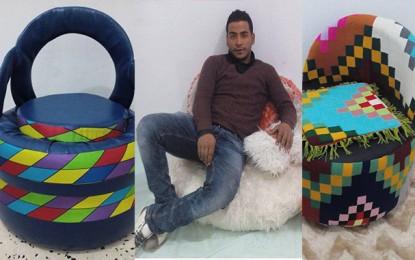 Farouk défie le chômage en créant des meubles avec des pneus recyclés