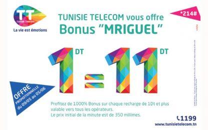 Offre «Mriguel» de Tunisie Telecom : Un bonus 1000%