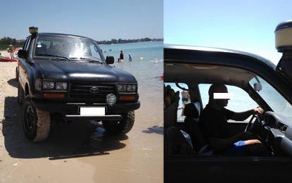 Hammamet : Un véhicule 4×4 au milieu des baigneurs