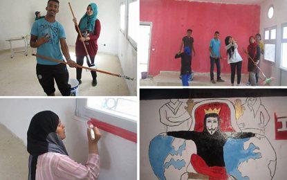 Sidi Thabet : Des élèves profitent des vacances pour peindre leur lycée