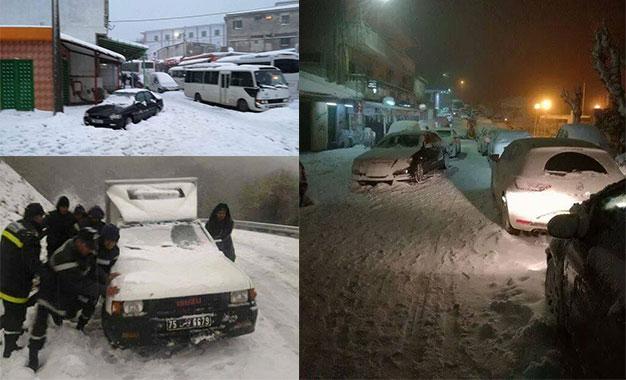 Froid et neige: Des ministres à Aïn Drahem pour constater les dégâts Neige-Ain-Drahem-Ensemble