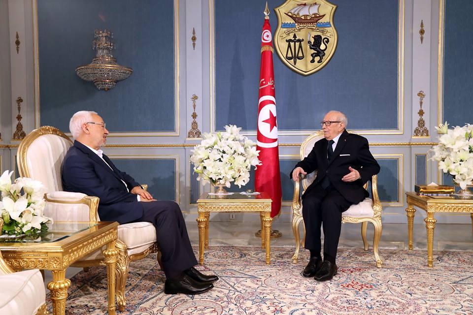 Rached Ghannouchi reçu par Béji Caïd Essebsi le mercredi 12 avril 2017