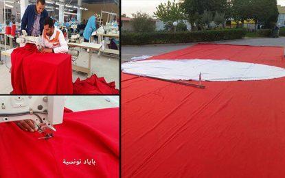 Un drapeau tunisien de 300 mètres carrés fabriqué à Ksar Hellal