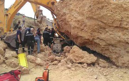 Béja : Ecrasé par un rocher, un ouvrier sauvé in extremis