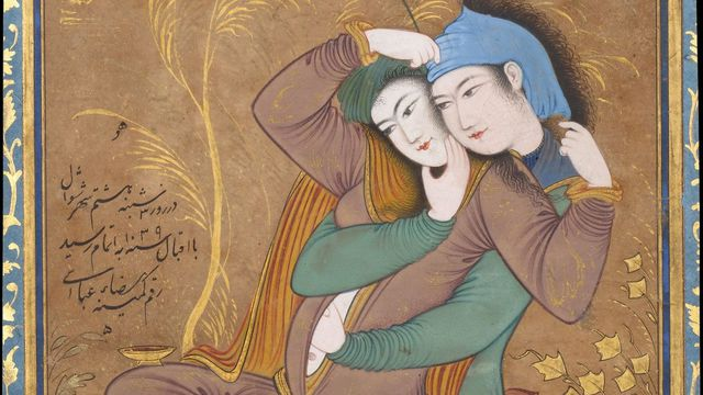 Deux amants, peint par Riza Abbasi (1565-1635).