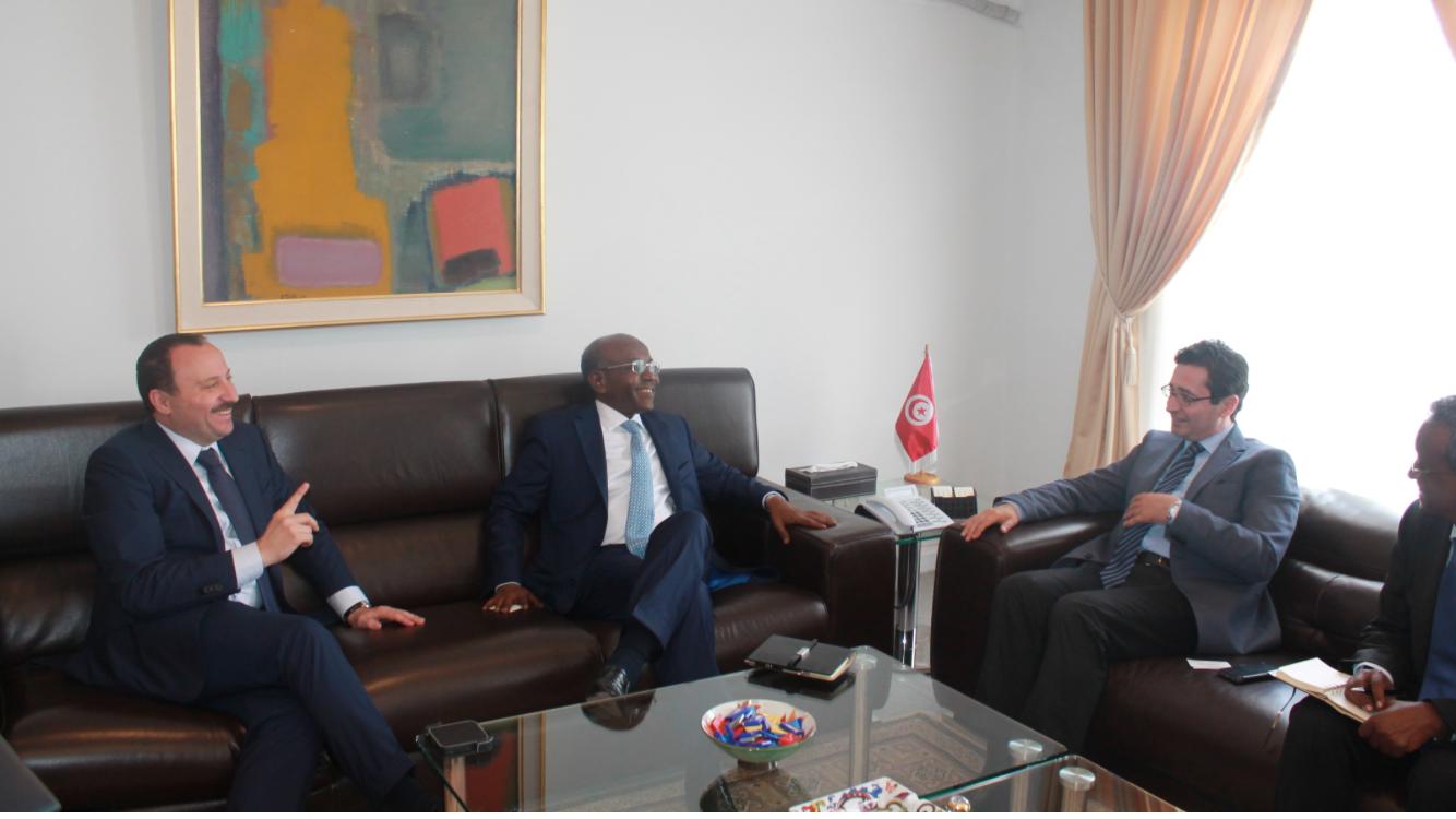 La délégation djiboutienne et Bassem Loukil reçus par le ministre Fadhel Abdelkefi.