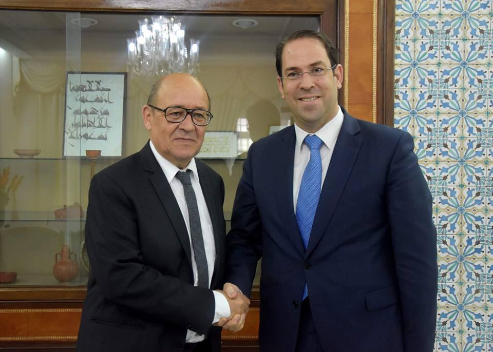 Youssef Chahed et Jean-Yves Le Drian