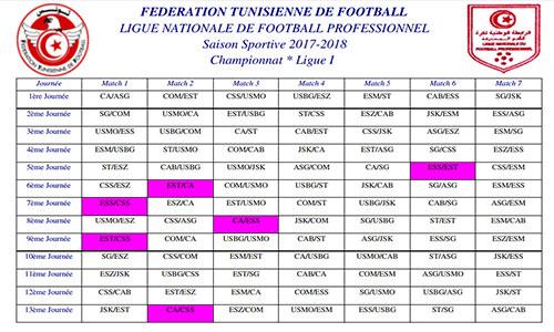 Calendrier Championnat Tunisien.Foot Calendrier 2017 2018 Chocs De La 5e A La 9e Journees