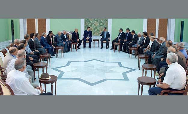 La délégation de l'UGTT à la rencontre de Assad — Syrie