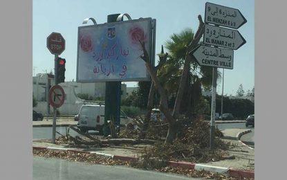 El-Menzah 6 : Des arbres abattus et remplacés par un panneau publicitaire