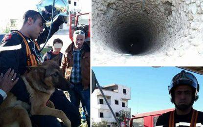 Sousse : Un pompier sauve un chien tombé dans un puits