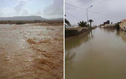 Inondations à Tataouine : Crue des eaux d'Oued Martaba
