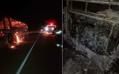 Kébili : Un bus de la SNTRI prend feu, les passagers évacués à temps