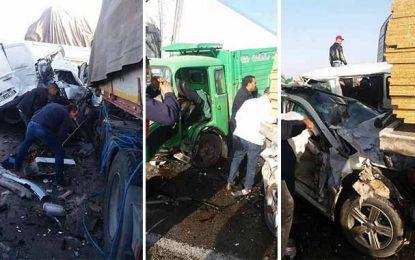 Tunisie : Carambolage entre 25 voitures et camions sur l'autoroute Sfax-Sousse