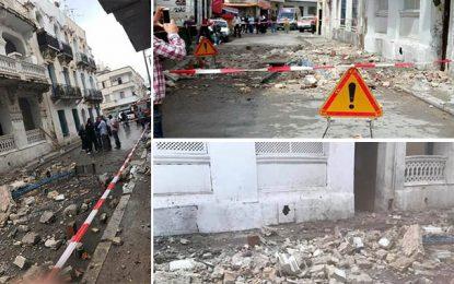 Tunis : Effondrement d'une partie d'un vieil immeuble à Bab El Khadhra