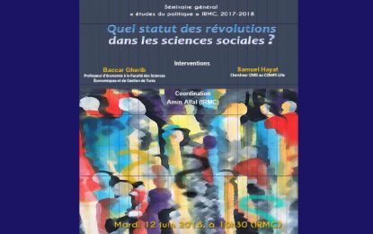 Séminaire à Tunis : «Quel statut des révolutions dans les sciences sociales?»
