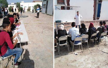 Bouhajla : A cause des travaux, les cours dispensés dans la cour du lycée