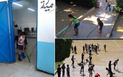 Inondations à Nabeul : Les enfants participent au nettoyage de leurs écoles