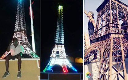 Gafsa : La «Tour Eiffel» de Hassan égaye l'entrée de Redeyef