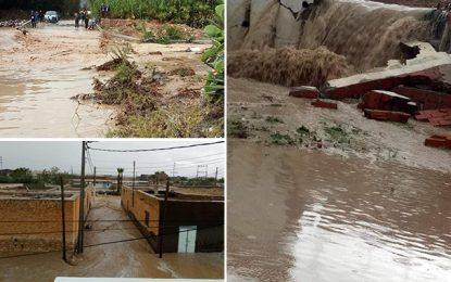 Kasserine : Pluies, oueds en crue, routes coupées et cours suspendus