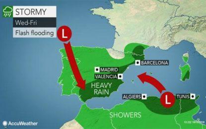 Méditerranée occidentale : Risques de fortes pluies et d'inondations en Tunisie