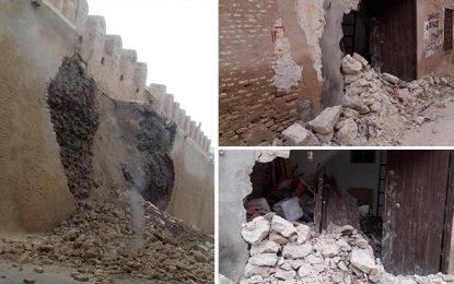 Effondrement d'une partie de la muraille de la medina de Kairouan