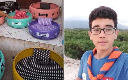 Alaa, l'élève qui transforme les pneus en paniers pour chiens et chats