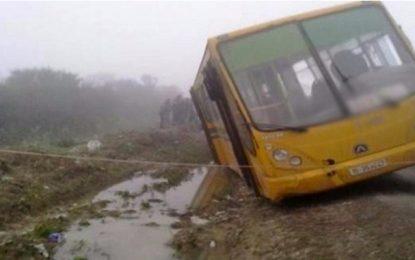 Kairouan : Glissement d'un bus scolaire près d'un oued à Chebika