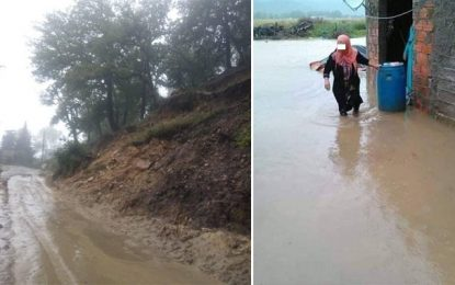 Fortes pluies à Jendouba: Montée des eaux des oueds et routes coupées