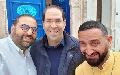 Youssef Chahed et Cyril Hanouna à la galerie Aly C. à Sidi Bou Saïd