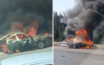 Accident à Grombalia : Deux personnes carbonisées dans leur véhicule