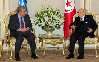 António Guterres : «Caïd Essebsi était un grand homme d'État, sa disparition est une perte immense pour toute la région»