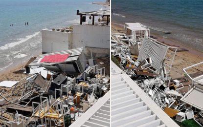 Gammarth : Démolition du bar de l'hôtel la Tour Blanche, pour exploitation illégale du domaine public maritime (vidéo)