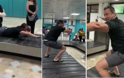 Quelle mouche l'a piqué : Sami Fehri fait le pitre à l'aéroport de Tunis-Carthage (vidéo)