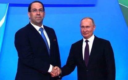 Sotchi : Youssef Chahed rencontre Vladimir Poutine au Sommet Russie-Afrique