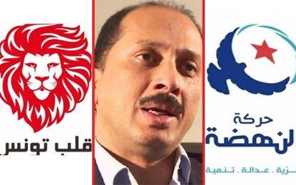 Critique envers les deux, Abbou se montre légèrement plus indulgent avec Ennahdha que Qalb Tounes