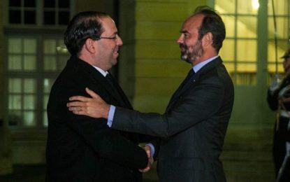 Paris : Le premier ministre français Édouard Philippe reçoit le chef du gouvernement Youssef Chahed à Matignon