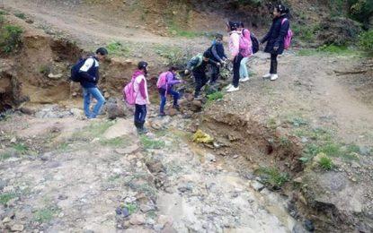 Photo du jour : Des élèves à Fernana traversant un oued pour accéder à l'école