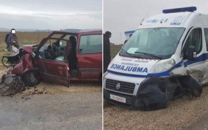 Bouarada : Dix blessés dans une collision entre une ambulance et une voiture