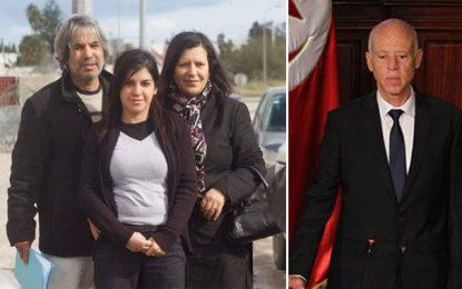 Kaïs Saïed chez les parents de Lina Ben Mhenni pour présenter ses condoléances