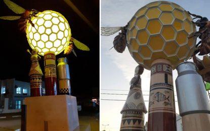 Installation au rond-point de Sejnane : Quand l'art met en valeur les spécificités de la ville (Photos)