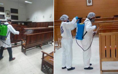 Coronavirus : Opérations de stérilisation dans les tribunaux de Tunis et de Bizerte (Photos)