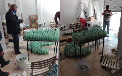 Raoued : Fabrication de gel désinfectant contrefait dans un entrepôt illégal (Vidéo & Photos)