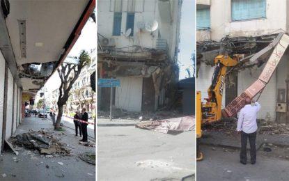 Un piéton blessé par la chute d'une extension de construction : Précisions de la mairie de Tunis (Vidéo)