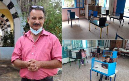 Jendouba : Le directeur de l'école Jaballah à Tabarka fabrique des séparateurs pour protéger les élèves (Photos)
